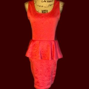 Coral Embossed Floral Lace Back Peplum Dress